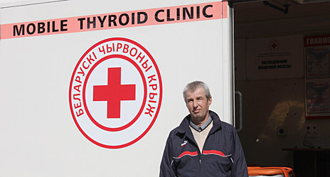 Mogilev region, Belarus. Viktor Pyntikov, 55, has driven 600,000 kilometres in Mogilev over 18 years. As driver of the Belarus mobile medical vehicle, he and two Red Cross doctors visit more than 20,000 people every year – in remote villages, farms, fields, companies and schools – providing free thyroid and breast screenings for communities most affected by the Chernobyl nuclear power plant explosion which dispersed radioactive contamination over 10,000 square kilometres in Ukraine, Belarus and the Russian Federation. 26 April 2016 marks 30 years since the Chernobyl disaster.
